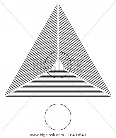 Optical illusion. Round circle on the lines triangle is identical as the one below. Vector illustration.