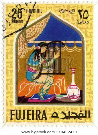 Fujeria circa 1967. A stamp printed in Fujeira shows image of the story.