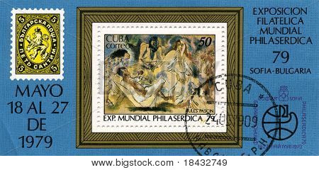 CUBA - CIRCA 1979: A stamp printed in CUBA shows paint by JULES PASCIN, circa 1979