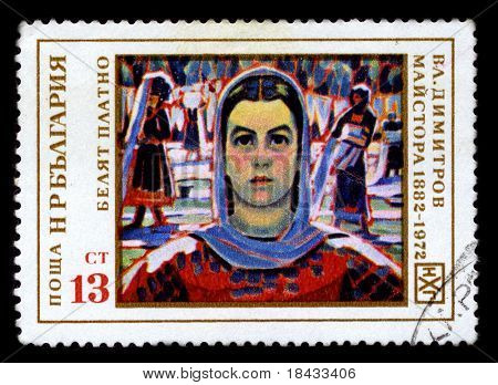 BULGARIA - CIRCA 1972: A stamp printed in BULGARIA shows paint by V. Dimitrov-Maistora circa 1972.