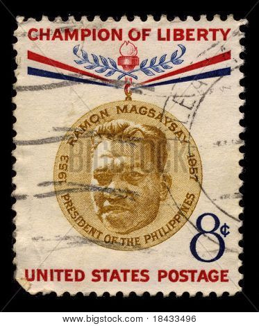 USA - CIRCA 1957: A stamp printed in USA shows Portrait President of the Philippines Ramon Magsaysay circa 1957.