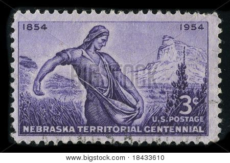 USA - CIRCA 1954: A stamp printed in USA shows image of the dedicated to the Nebraska Territorial Centennial circa 1954.
