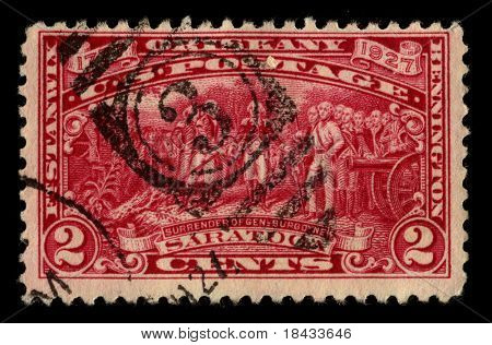USA - CIRCA 1927: A stamp printed in USA shows image of the dedicated to the Events Saratoga circa 1927.