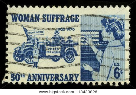 USA - CIRCA 1970: A stamp printed in USA shows image of the dedicated to the Woman Suffrage circa 1970.