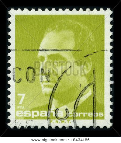 SPAIN - CIRCA 1990: A stamp printed in SPAIN shows image portrait Juan Carlos I (baptized as Juan Carlos Alfonso Victor Maria de Borbon y Borbon-Dos Sicilias) is the reigning King of Spain circa 1990.