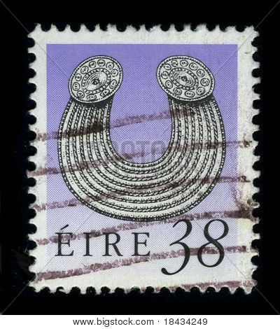 IRELAND - CIRCA 1980: A stamp printed in IRELAND shows image of the dedicated to the Irish jewelry, circa 1980.
