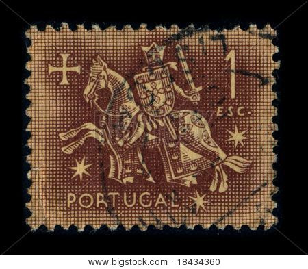 PORTUGAL - CIRCA 1980: A stamp printed in PORTUGAL shows image of the dedicated to the Knight, circa 1980.