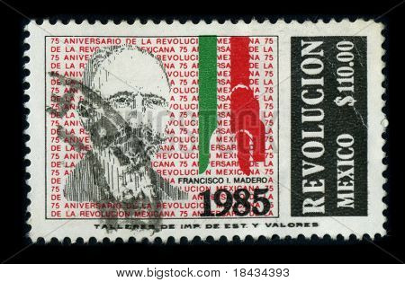 MEXICO - CIRCA 1985: A stamp dedicated to the Francisco Ignacio Madero Gonzalez was a politician, writer and revolutionary who served as President of Mexico from 1911 to 1913, circa 1985.