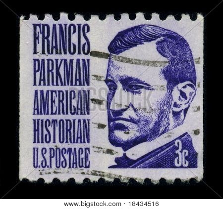 USA - CIRCA 1980: A stamp shows image portrait Francis Parkman (September 16, 1823 - November 8, 1893) was an American historian, best known as author of The Oregon Trail, circa 1980.