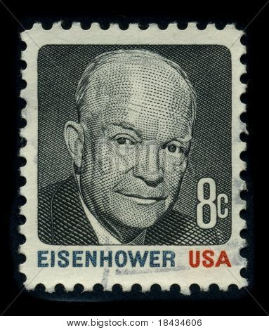 USA - CIRCA 1980: A stamp shows image portrait Dwight David