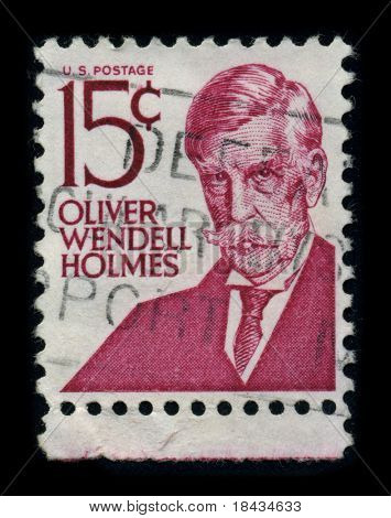USA - CIRCA 1980: A stamp shows image portrait Oliver Wendell Holmes, Sr. (August 29, 1809 - October 7, 1894) was an American physician, professor, lecturer, and author, circa 1980.