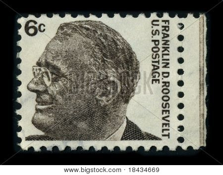 USA - CIRCA 1966: A stamp image portrait Franklin Delano Roosevelt (January 30, 1882 - April 12, 1945) was the 32nd President of the United States, circa 1966.