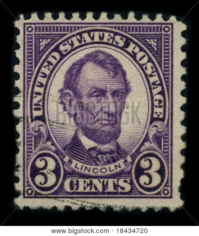 USA-CIRCA 1924: A stamp shows image portrait Abraham Lincoln (February 12, 1809 - April 15, 1865) served as the 16th President of the United States, circa 1924.