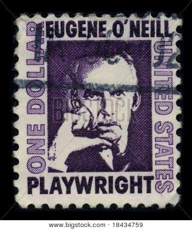 EUA-por volta de 1972: um selo imprimido nos EUA mostra retrato Eugene Gladstone o ' Neill (16 de outubro de 1888 - 27