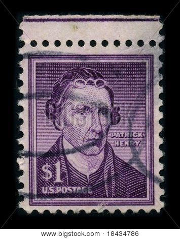 USA - CIRCA 1930: A stamp printed in USA shows portrait Patrick Henry (May 29, 1736 - June 6, 1799) served as the first and sixth post-colonial Governor of Virginia, circa 1930.