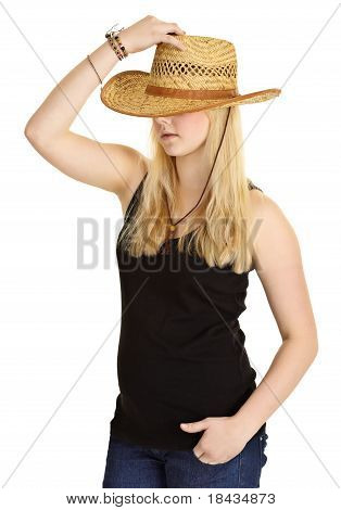 Young Pale Girl In Old-fashioned Straw Hat
