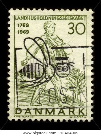 DENMARK - CIRCA 1969: A stamp dedicated to The Royal Danish Agricultural Society was established in 1769 and still exists, circa 1969.