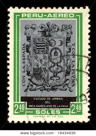 PERU - CIRCA 1980: A stamp dedicated to the Arms of the Garcilaso de la Vega (April 12, 1539 -1616), born Gomez Suarez de Figueroa, was a Spanish  historian and writer, circa 1980.