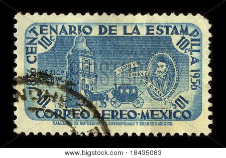 MEXICO-CIRCA 1956: A stamp printed in Mexico shows image of the Don Martin Enriquez de Almanza who was the 4th viceroy of New Spain, who ruled from November 5, 1568 until October 3, 1580, circa 1956.
