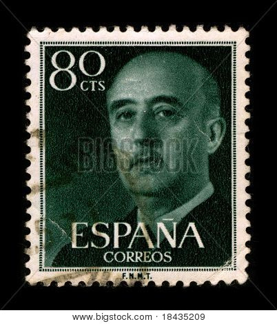 SPAIN - CIRCA 1975: A stamp printed in SPAIN shows image portrait Francisco Paulino Hermenegildo Teodulo Franco y Bahamonde Salgado Pardo de Andrade,commonly known as Franco,  circa 1975.