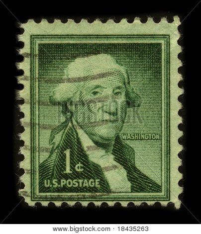 USA - CIRCA 1954: A stamp printed in USA shows image portrait George Washington (1732-1799), was the first president of the United States (1789-1797), circa 1954.