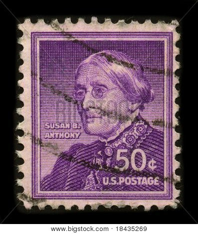 USA-CIRCA 1930: A stamp printed in USA shows portrait Susan Brownell Anthony (February 15, 1820 - March 13, 1906) was a prominent American civil rights leader circa 1930.