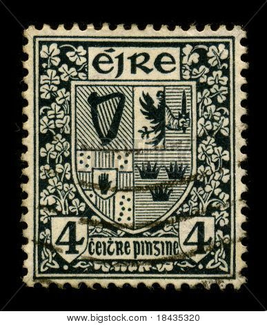 IRELAND-CIRCA 1960:A stamp printed in Ireland shows image of the Irish coat of arms, circa 1960.