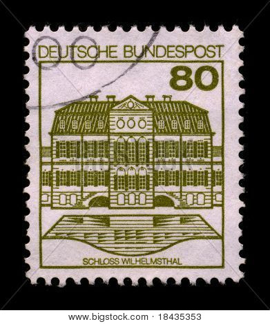 GERMANY-CIRCA 1980:A stamp printed in GERMANY shows image of The Wilhelmsthal is a castle near the city of Kassel in Hesse in the north county Calden Kassel (Germany), circa 1980.