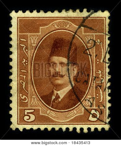 TURKEY-CIRCA 1920:A stamp printed in Turkey shows image of the Turkish man in a fez, circa 1920.