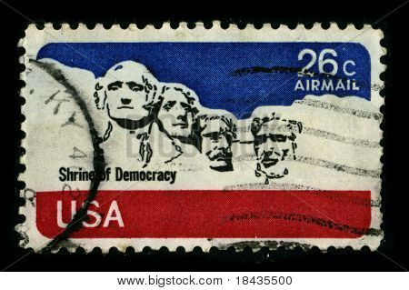 USA-CIRCA 1974:A stamp printed in USA shows image of the Mount Rushmore National Memorial is a sculpture carved into the granite face of Mount Rushmore near Keystone, in the USA, circa 1974.