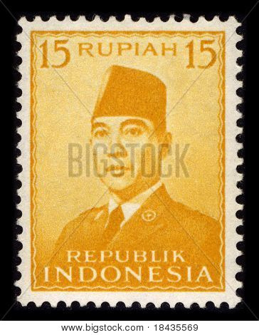INDONESIA-CIRCA 1970:A stamp printed in INDONESIA shows image of the Sukarno, born Kusno Sosrodihardjo (6 June 1901 - 21 June 1970) was the first President of Indonesia, circa 1970.