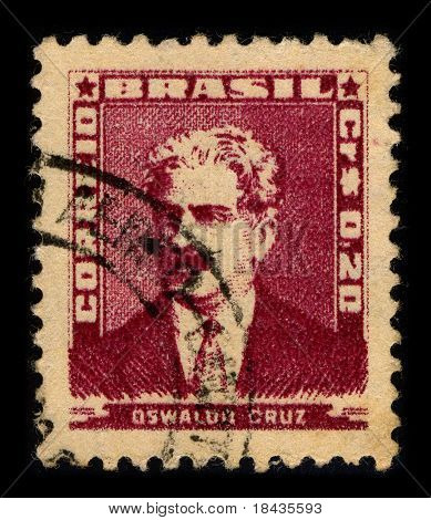 BRAZIL-CIRCA 1954:A stamp printed in BRAZIL shows image of Oswaldo Goncalves Cruz, better known as Oswaldo Cruz was a Brazilian physician, bacteriologist, epidemiologist, circa 1954.