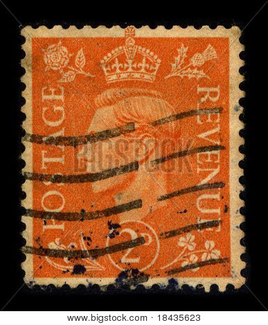 UNITED KINGDOM - CIRCA 1937: A stamp printed in UNITED KINGDOM shows image portrait George VI (Albert Frederick Arthur George) was King of the United Kingdom and the British Dominions, circa 1937.