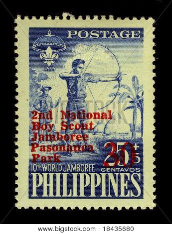 PHILIPPINES - CIRCA 1959:A stamp printed in PHILIPPINES shows image of The 10th World Scout Jamboree was held in 1959 and was hosted by the Philippines at Mount Makiling, Los Banos, Laguna, circa 1959.