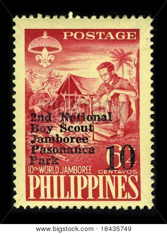 PHILIPPINES-CIRCA 1959:A stamp printed in PHILIPPINES shows image of The 10th World Scout Jamboree was held in 1959 and was hosted by the Philippines at Mount Makiling, Los Banos, Laguna, circa 1959.