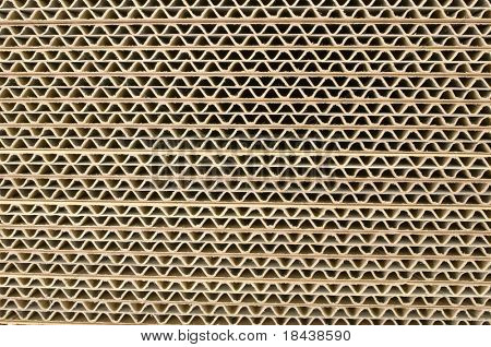 corrugated cardboard, close up of a section