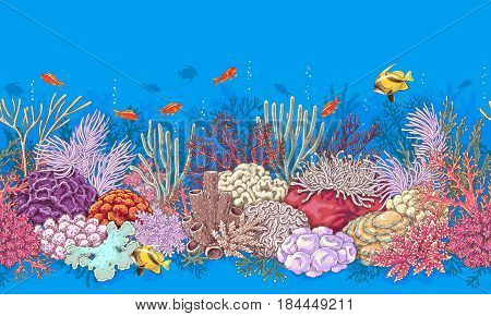 poster of Hand drawn underwater natural elements. Coral reef horizontal border. Vivid seamless pattern made with corals and swimming fishes. Undersea bottom texture.