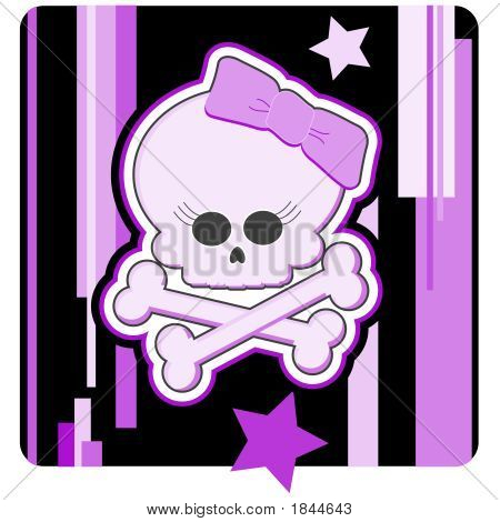 Girly Skull & Crossbones Illustration