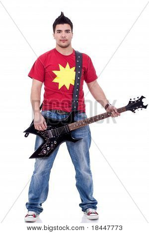 Trendy Man With Electric Guitar