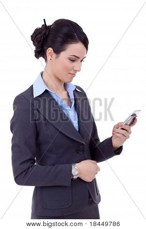 Business Woman Texting On Phone