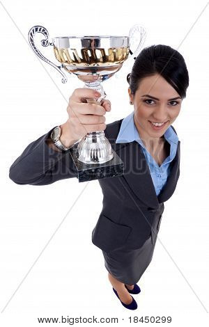 Business Woman Winning A Cup