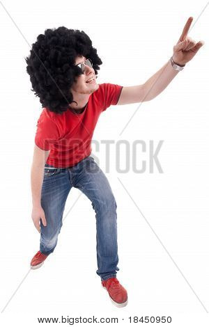 Casual Man Making A Rock Gesture