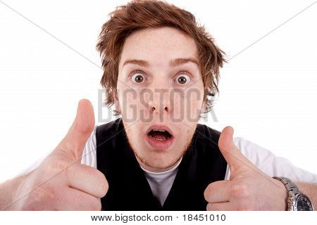 Shocked Man Making A Thumbs Up Gesture
