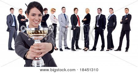 Happy Leader Holding A Cup, Team Behind