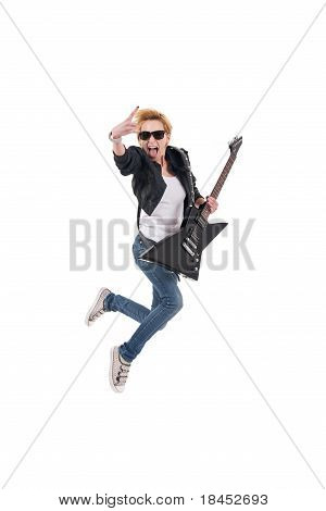 Rockstar Screaming And Jumping With Electric Guitar