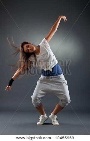 Stylish Girl Dancing Modern Ballet