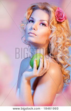 Idyllic Eva With Green Apple