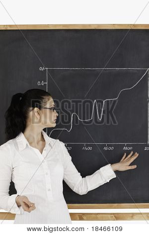 Dark-haired Teacher Explaining Charts To Students