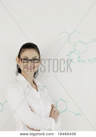 Dark-haired Scientist Woman Looking At The Camera