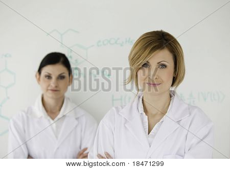 Two Attractive Women In Front Of A White Board